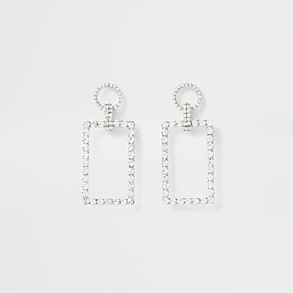 Silver colour diamante rectangle drop earring