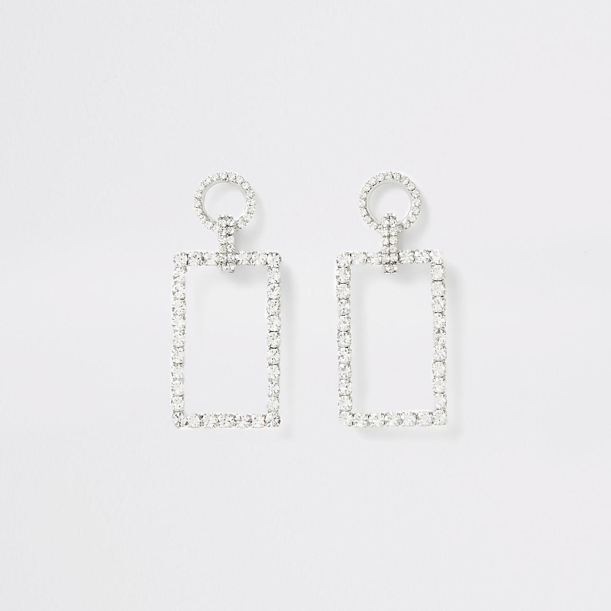Silver colour diamante rectangle drop earring