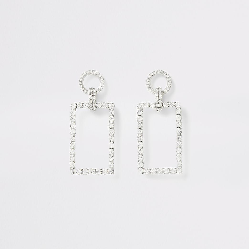 Zilverkleurige rechthoekige oorhangers met diamantjes