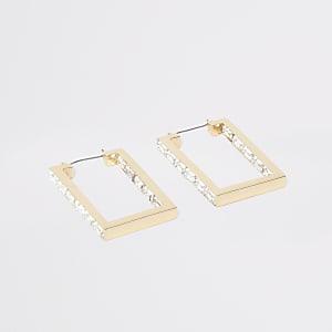 Créoles dorées rectangulaires