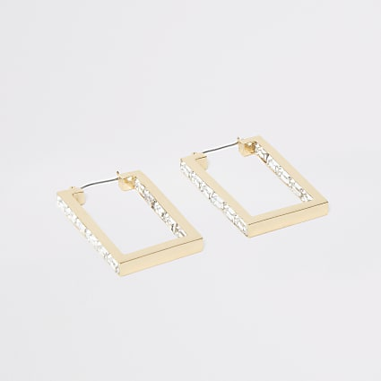 Gold colour rectangle hoop earrings