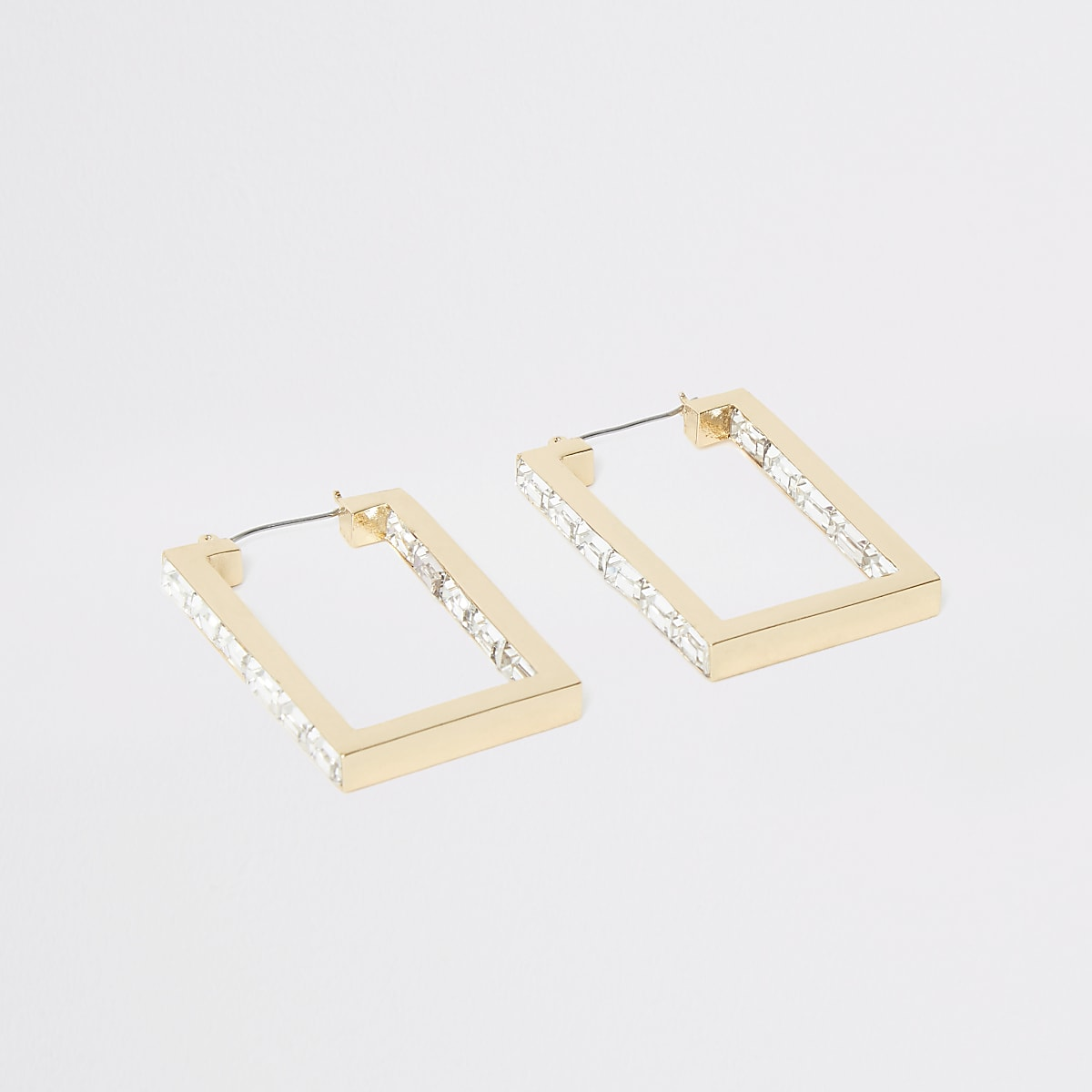 Gold colour rectangle hoop earrings