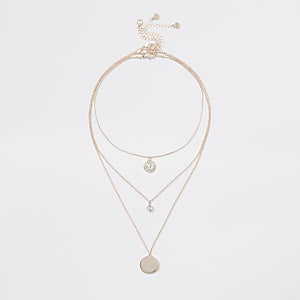Rose gold colour crystal layered necklace