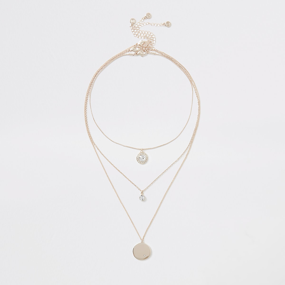 Rose gold color crystal layered necklace