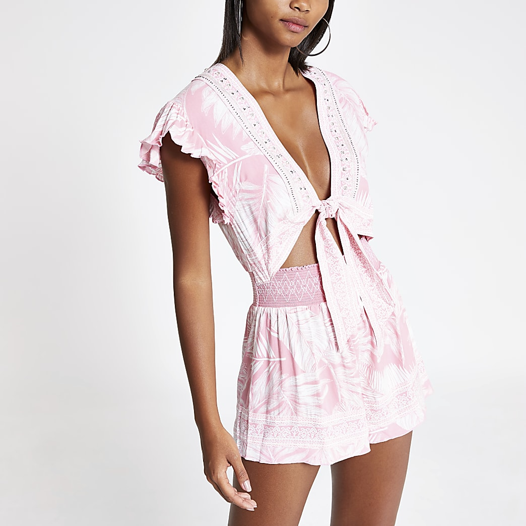 Pink print tie front playsuit