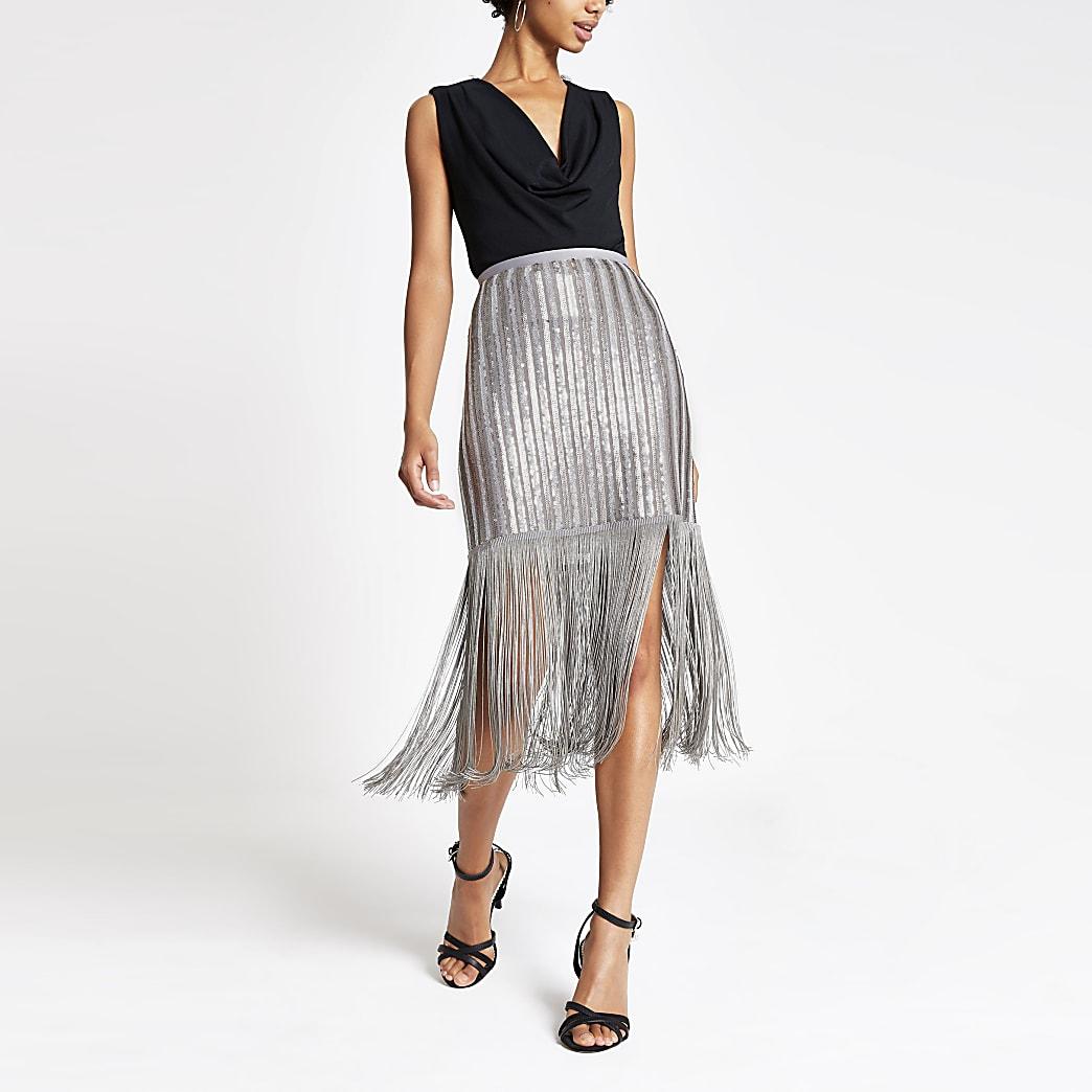 Silver sequin embellished tassel pencil skirt