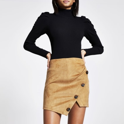 Tan faux suede mini skirt