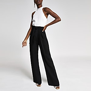 Black mono halter neck jumpsuit