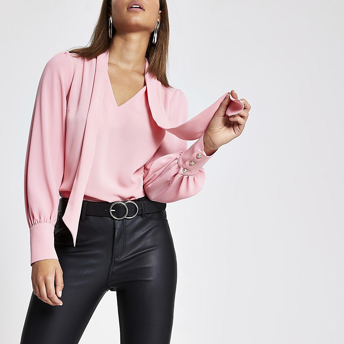 Pink tie neck blouse