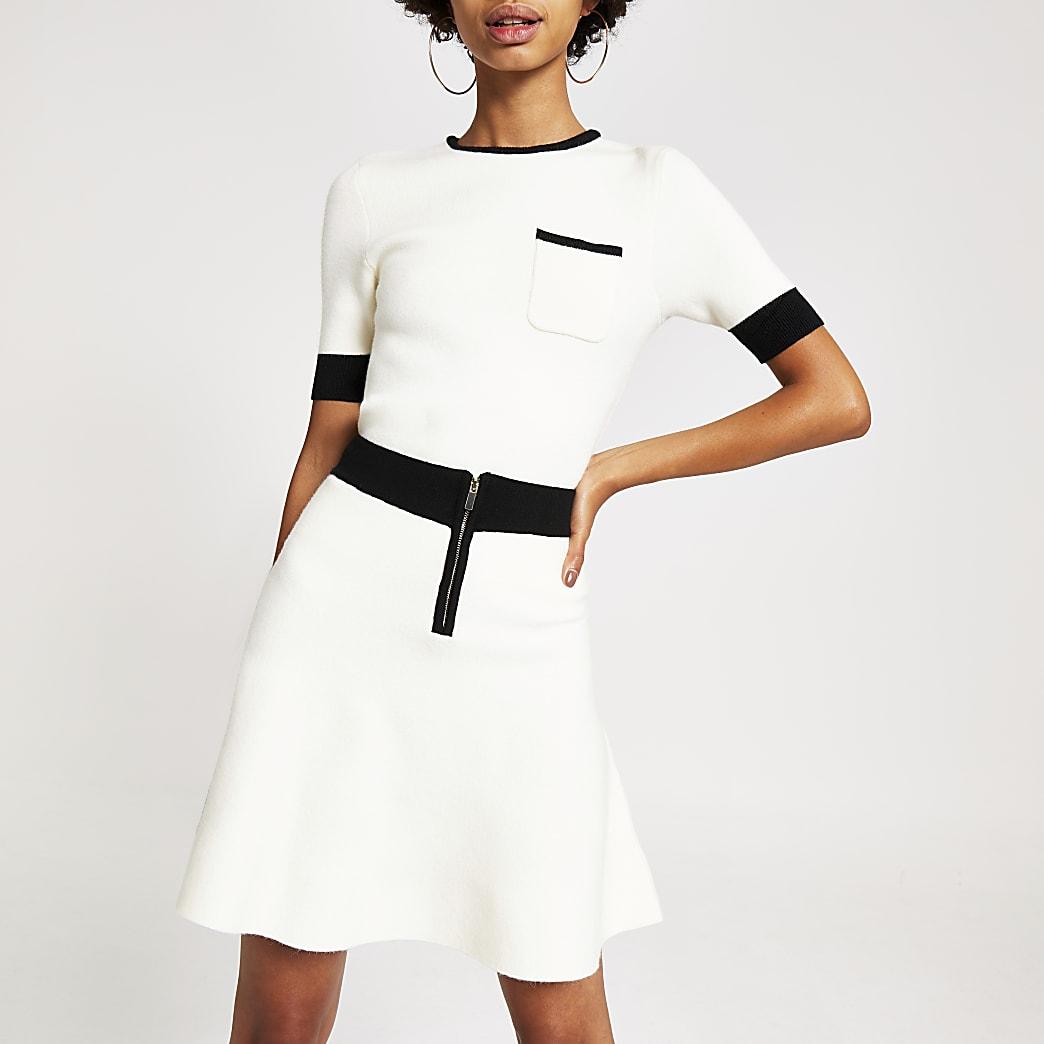 Cream contrast knitted mini skirt