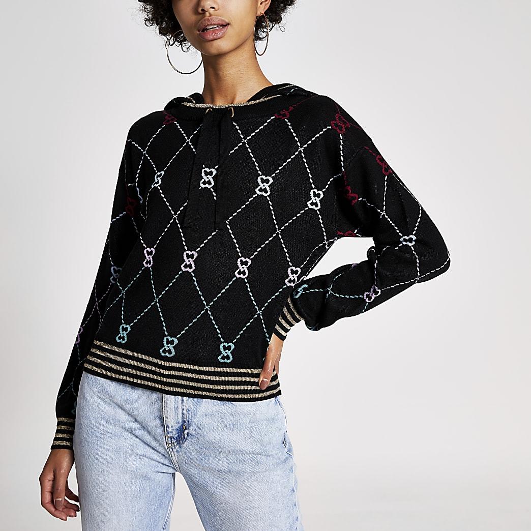 Schwarzer, langärmeliger Stickhoodie mit geometrischem Muster