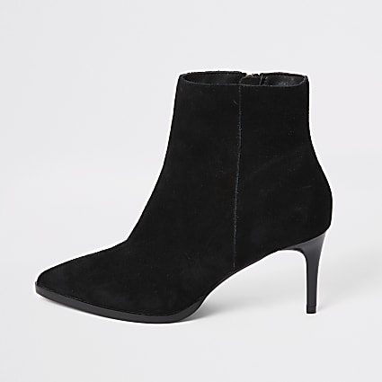 Black suede pointed toe heeled ankle boots