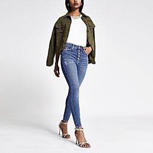 Petite – Hailey – Blaue Jeans mit hohem Bund