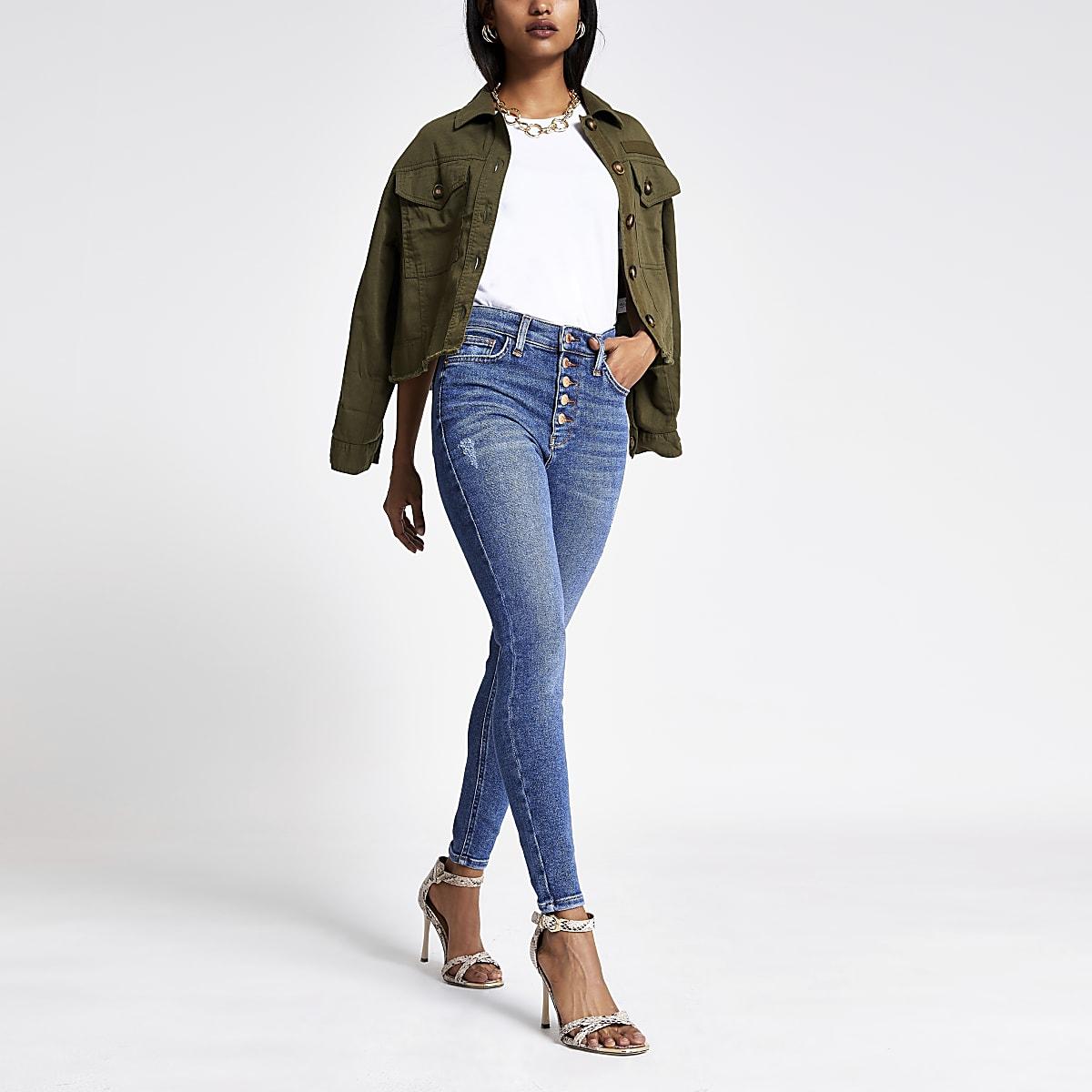 RI Petite - Hailey - Blauwe denim jeans met hoge taille