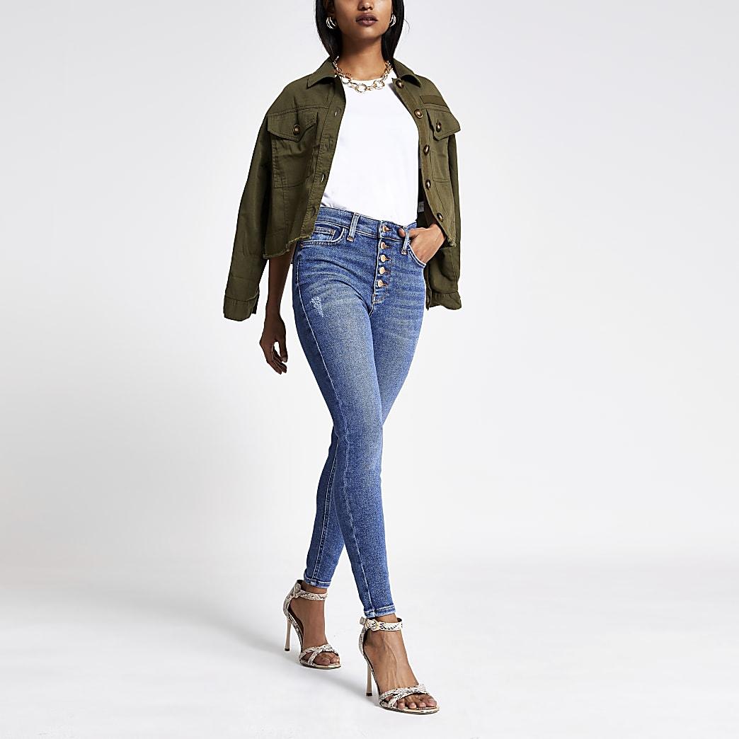 Petite Blue Hailey high rise denim jeans