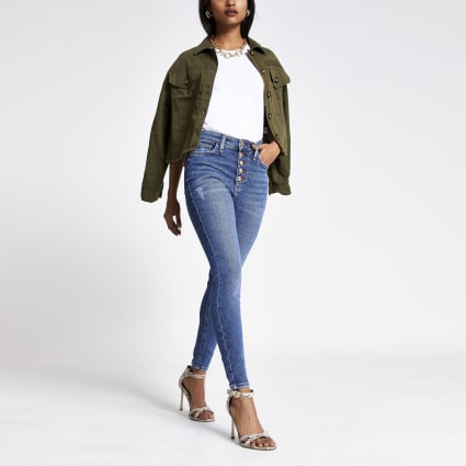 Petite Blue Hailey high rise denim jeans