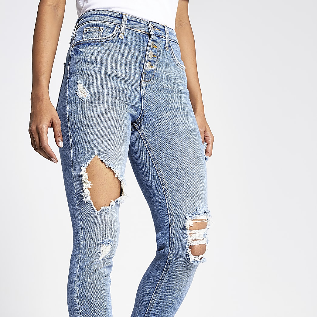 RI Petite - Hailey - Middenblauwe ripped jeans met hoge taille