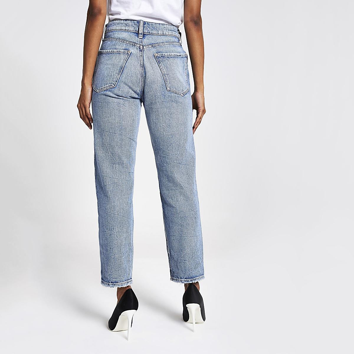 162d13d8482c55 Petite mid blue Mom high rise jeans - Mom Jeans - Jeans - women
