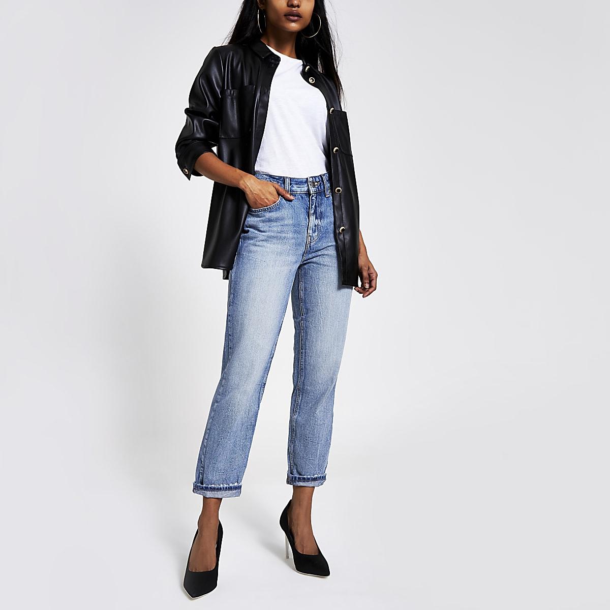 RI Petite - Middenblauwe mom jeans met hoge taille