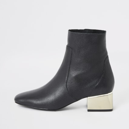Black gold tone block heel wide fit boots