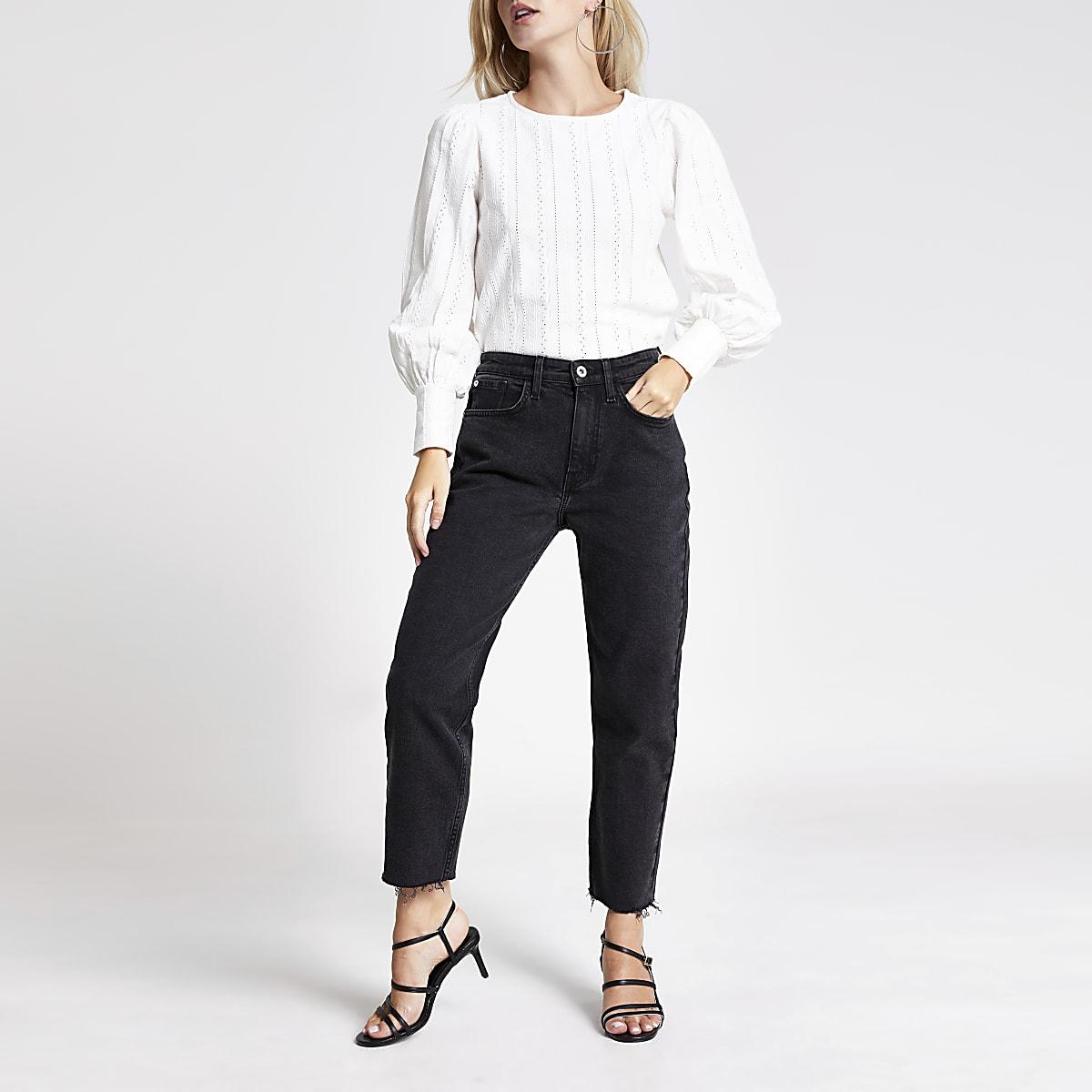 RI Petite - Zwarte jeans met rechte pijpen