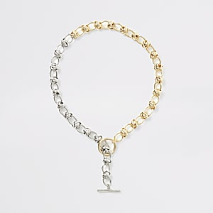 Mixed silver and gold colour chain necklace