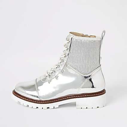 Silver metallic lace-up hiking ankle boots