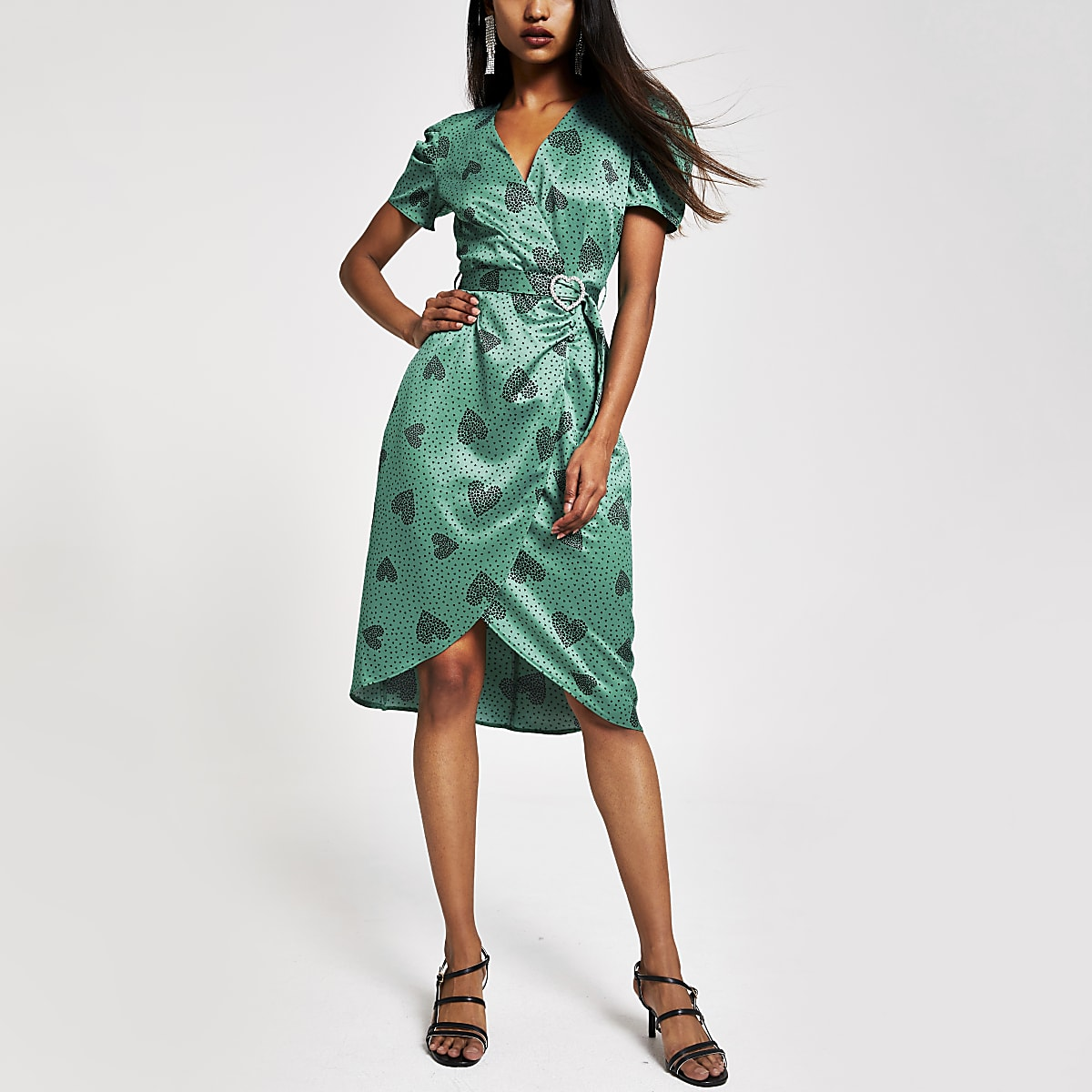 Petite green heart print belted tea dress