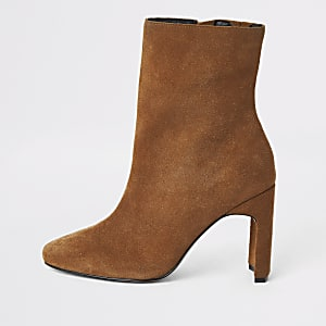 Beige wide fit suede heeled ankle boot