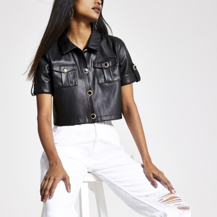 Petite black faux leather cropped shirt