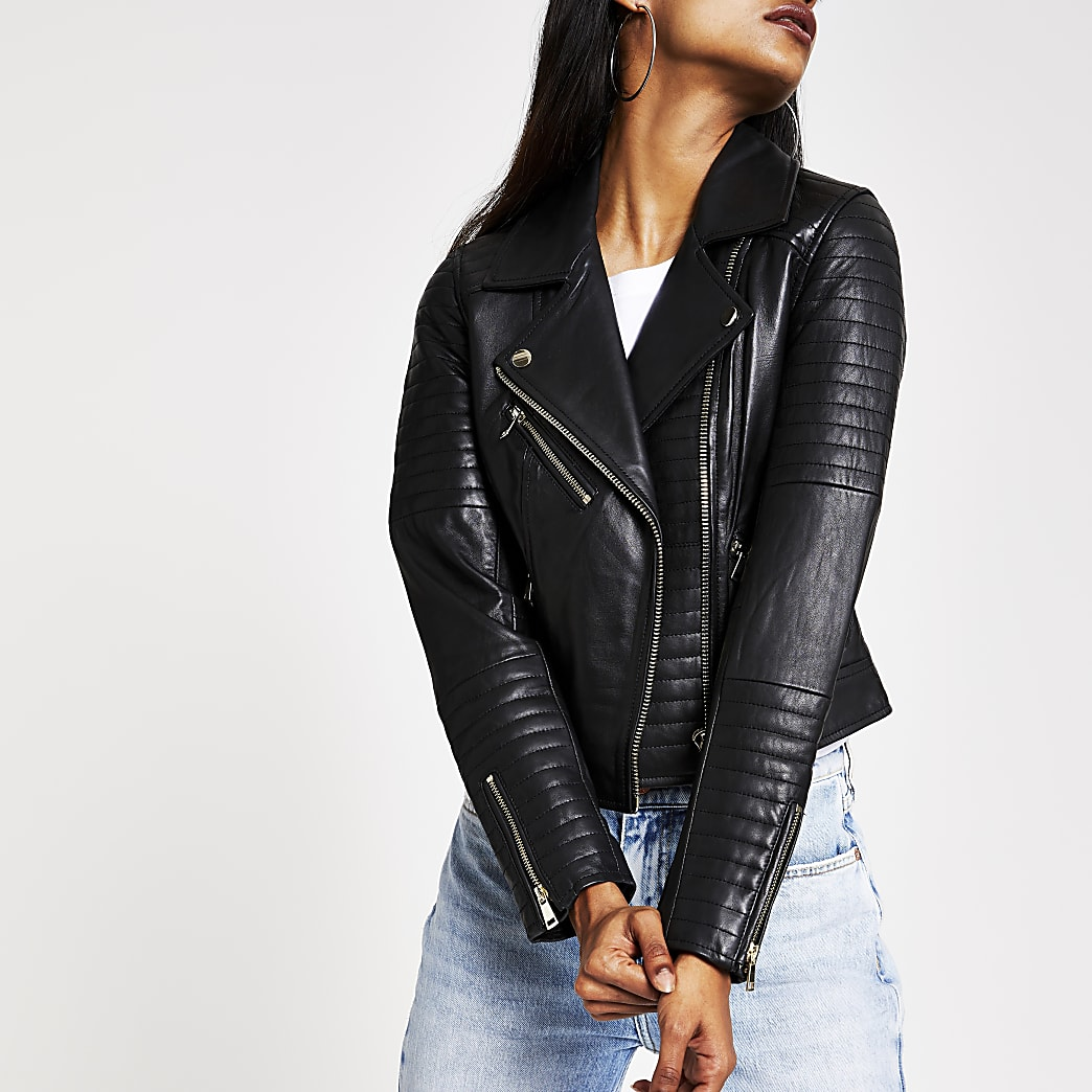 Petite black leather biker jacket