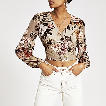 Cream floral print devore crop top