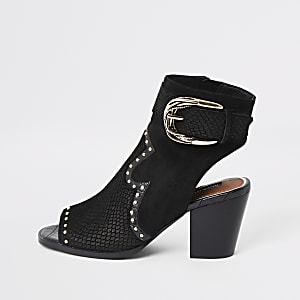 Black western studded open toe shoe boot