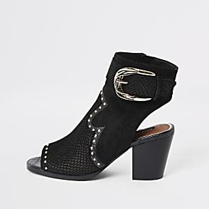 Zwarte western schoenlaarsjes met studs en open teen