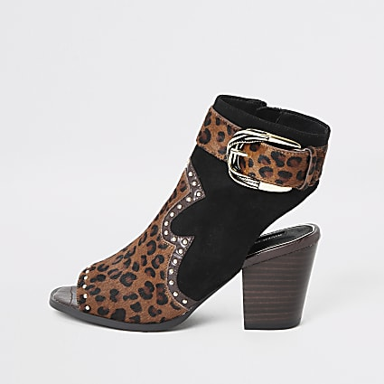 Brown animal print western studded shoe boot