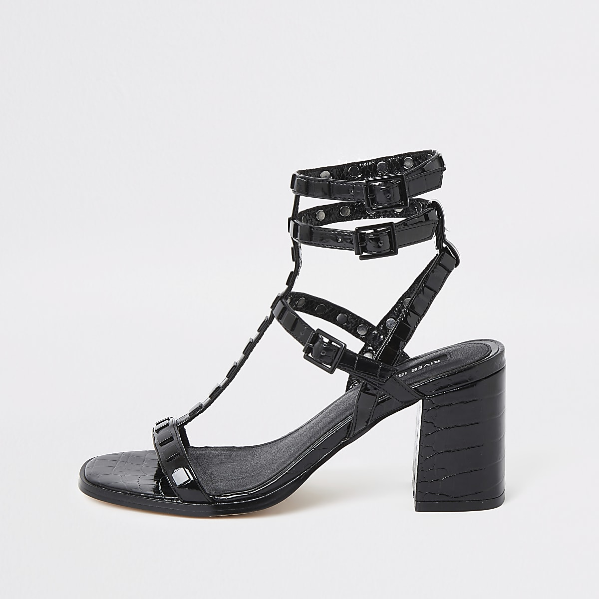 Black wide fit block heel gladiator sandal