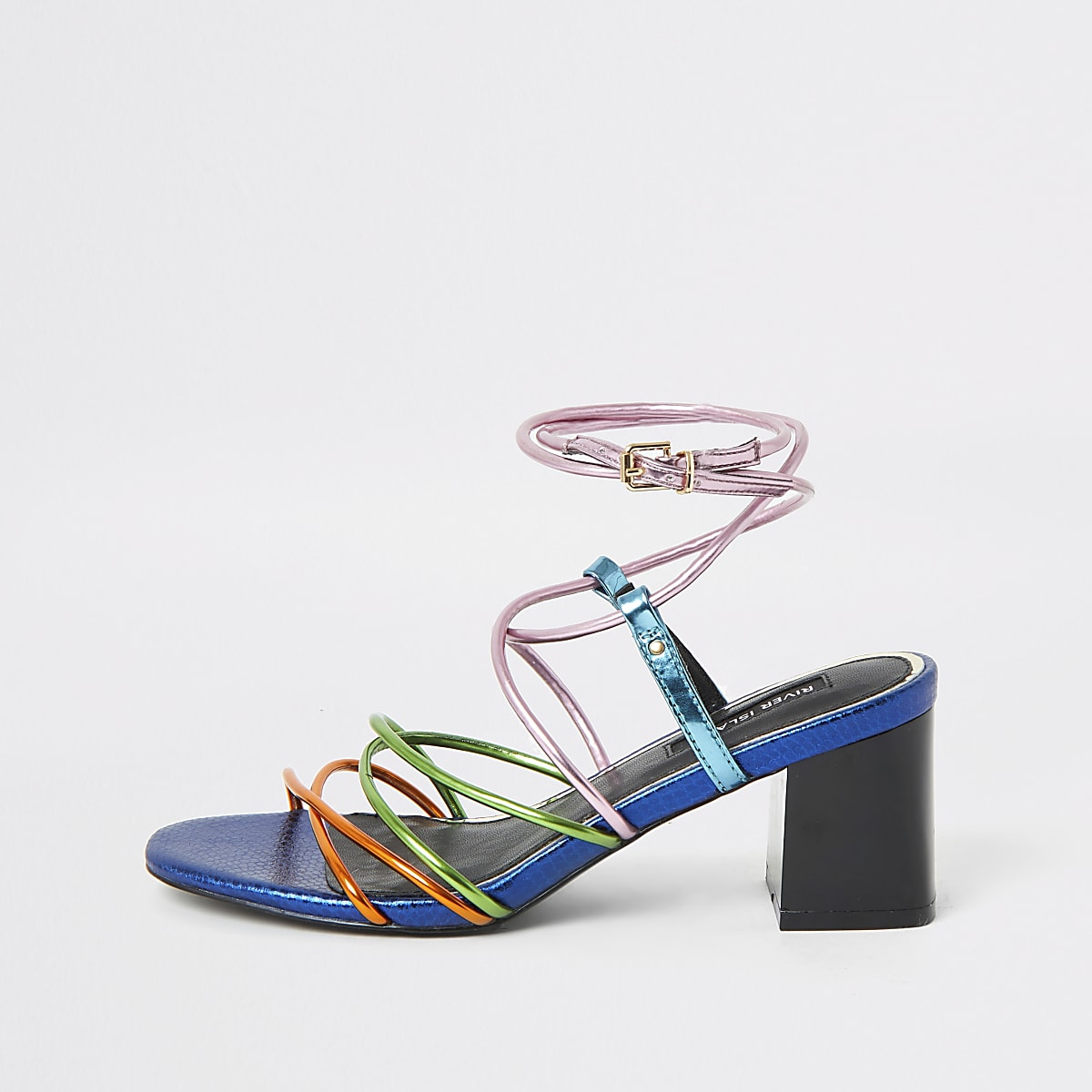 Pink multicolour strappy heeled sandal