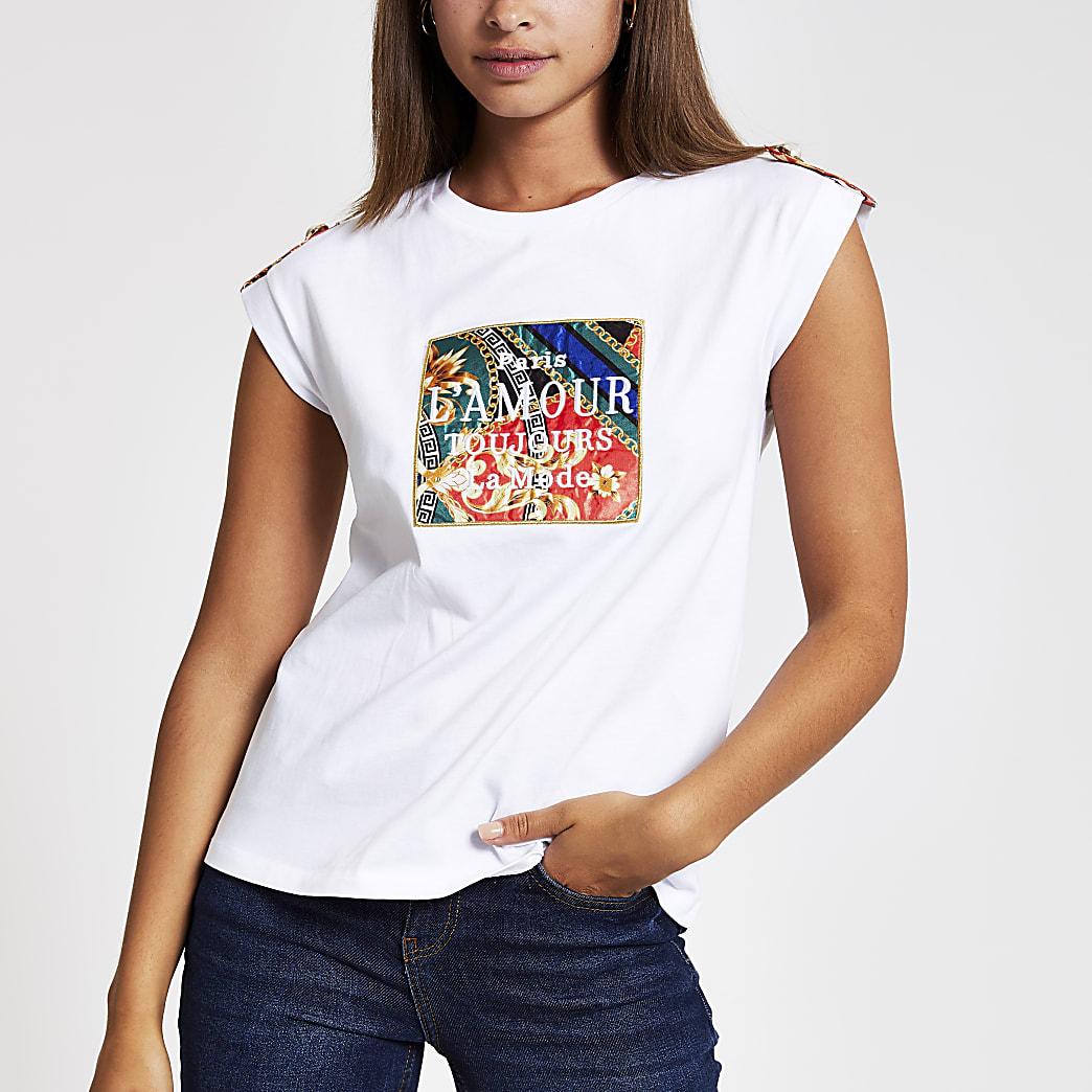White L'amour scarf box T-shirt