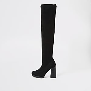 Schwarze Overknee-Stiefel mit Kroko-Prägung