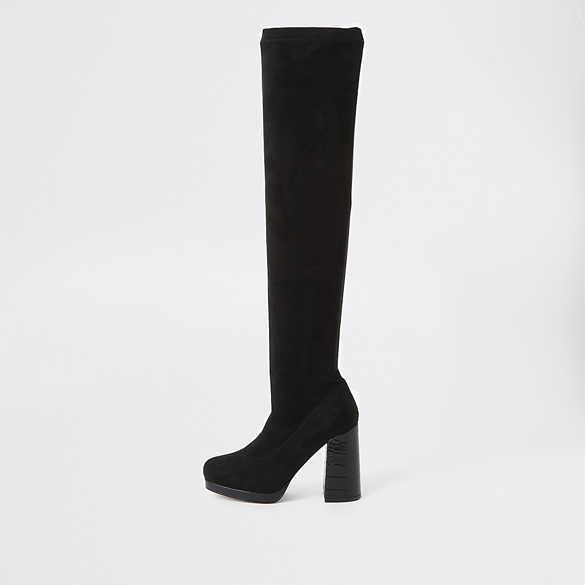Black croc embossed over the knee boots