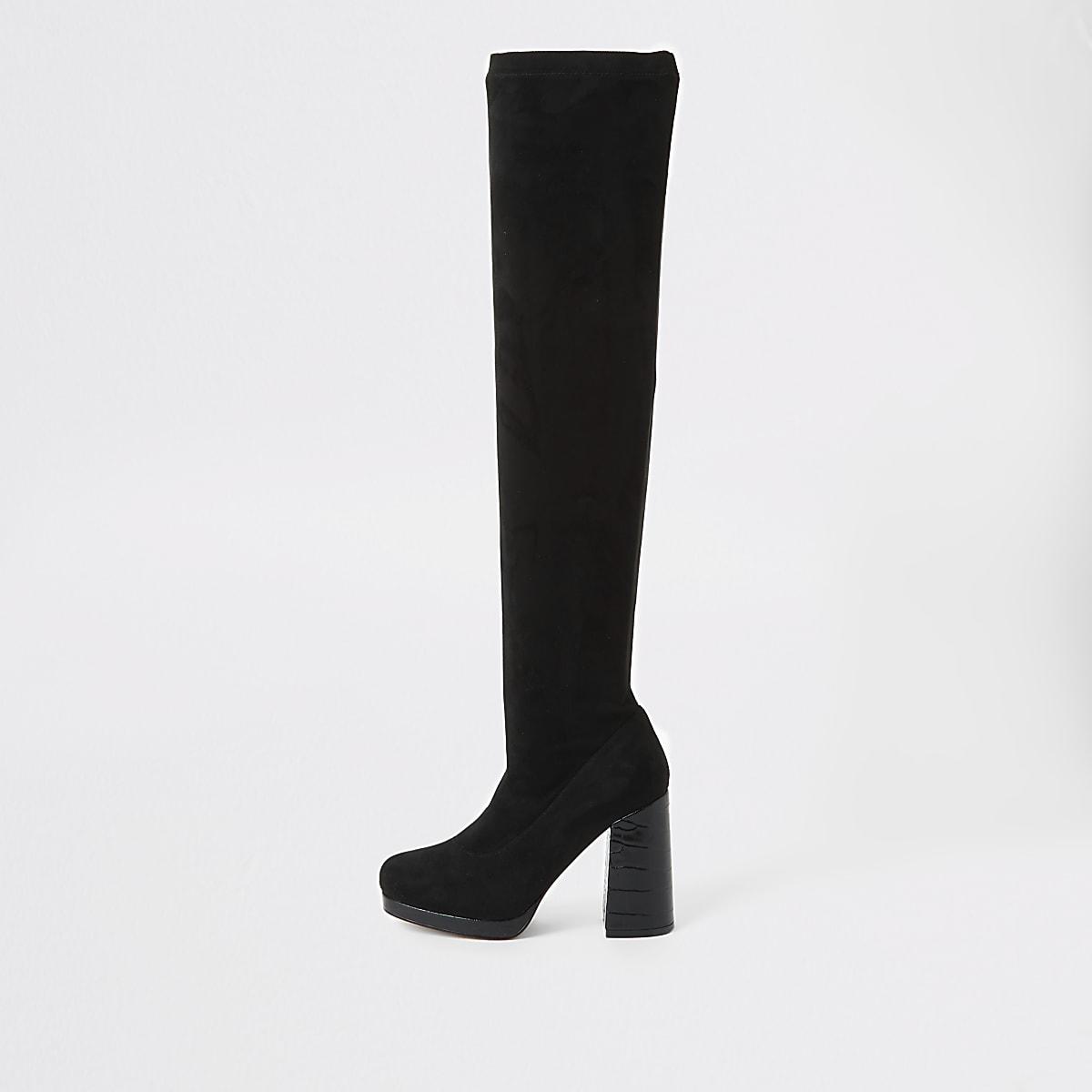 Zwarte laarzen tot over de knie met krokodillen-reliëf
