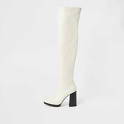 White over the knee platform boots