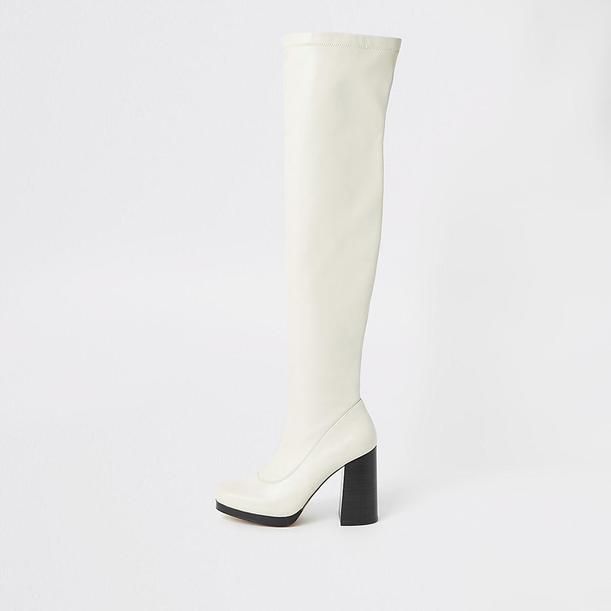 Witte over-de-knie laarzen met plateauzool