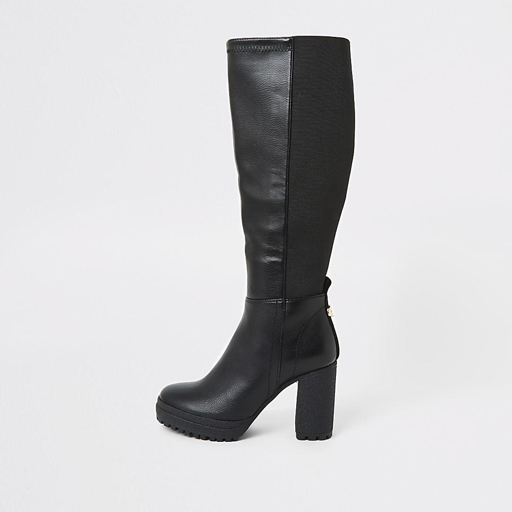 Black platform heel stretch boots