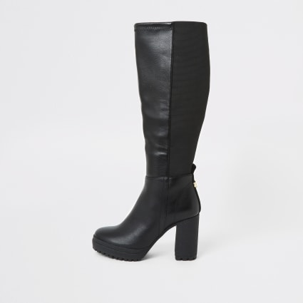 Black platform heel stretch boots