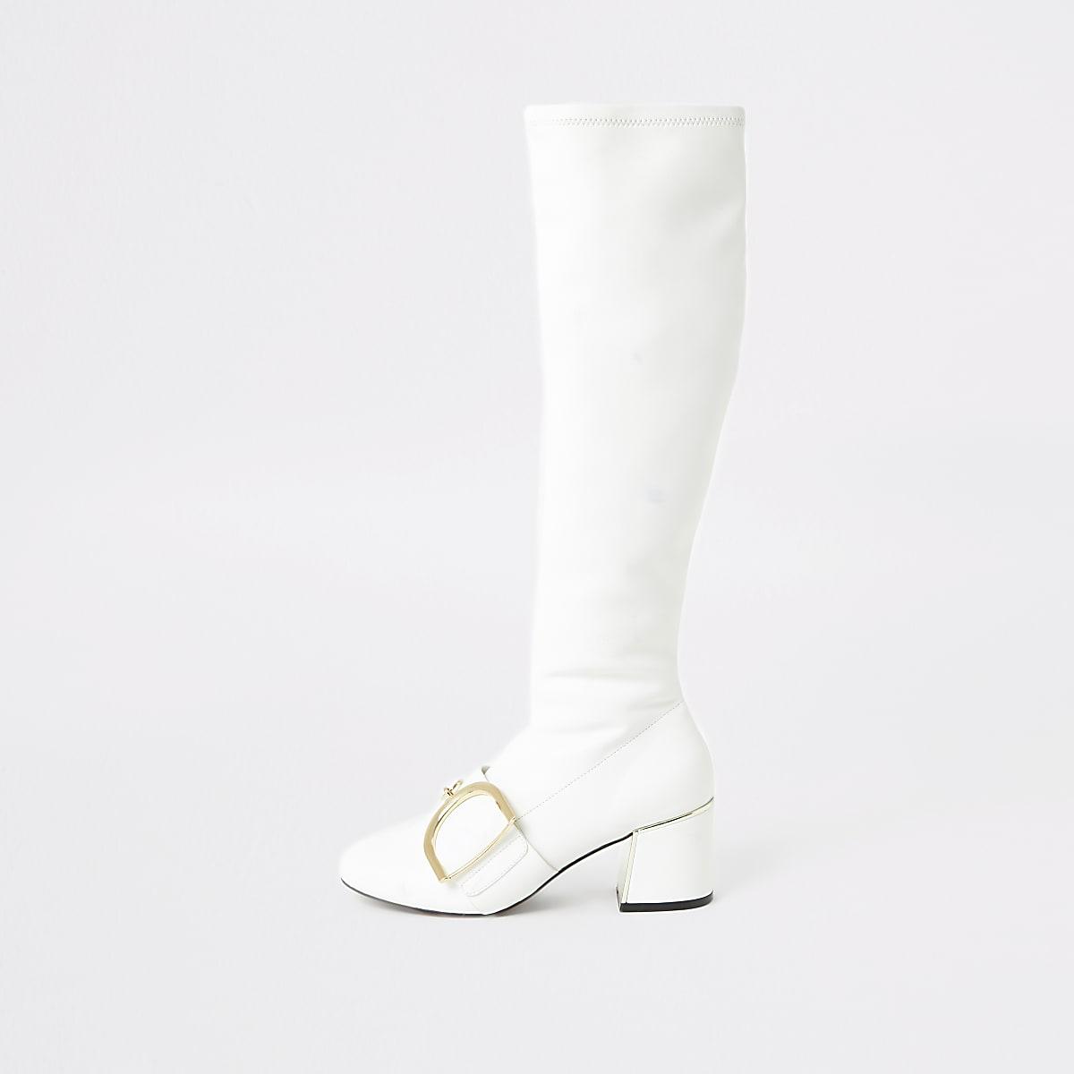 Witte kniehoge laarzen met gesp