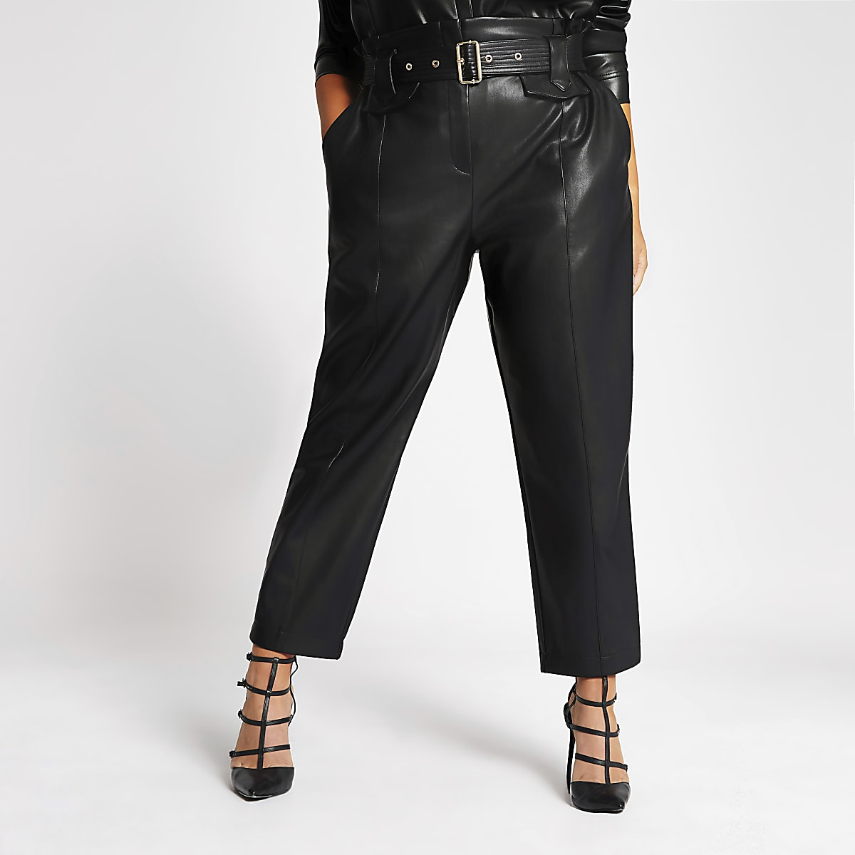 Plus black PU belted paperbag trousers