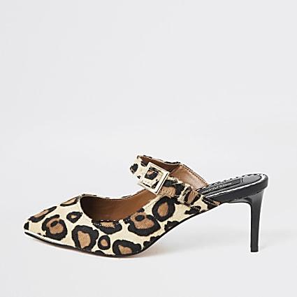 Leopard print suede wide fit slim heel mules