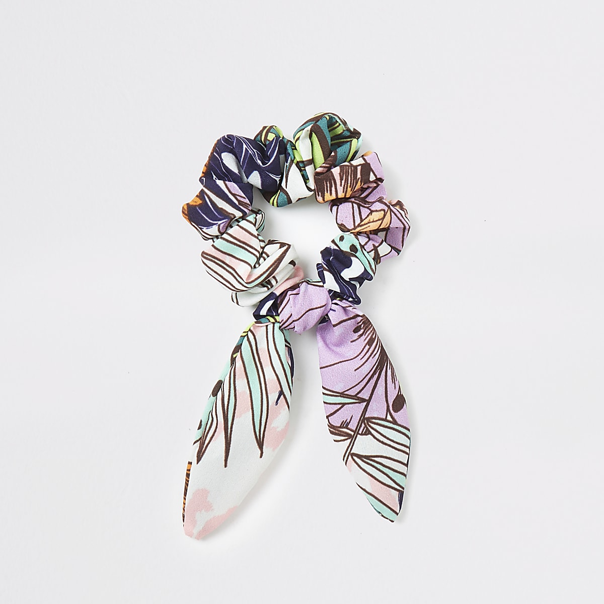 Purple tropical print bow scrunchie