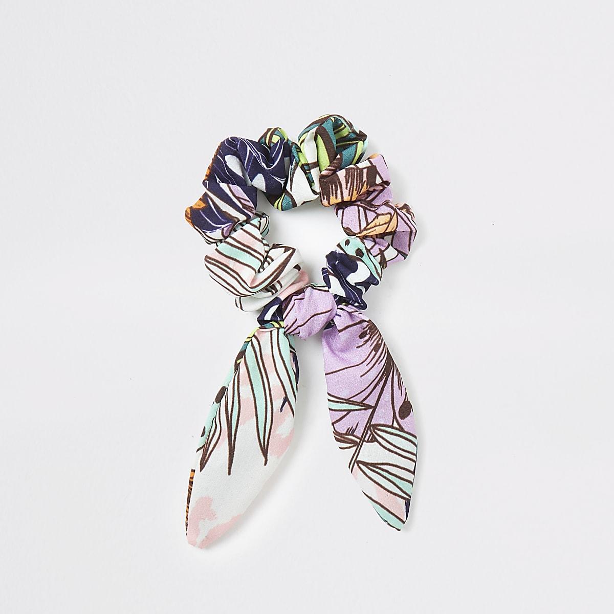 Purple tropical print bow scrunchie